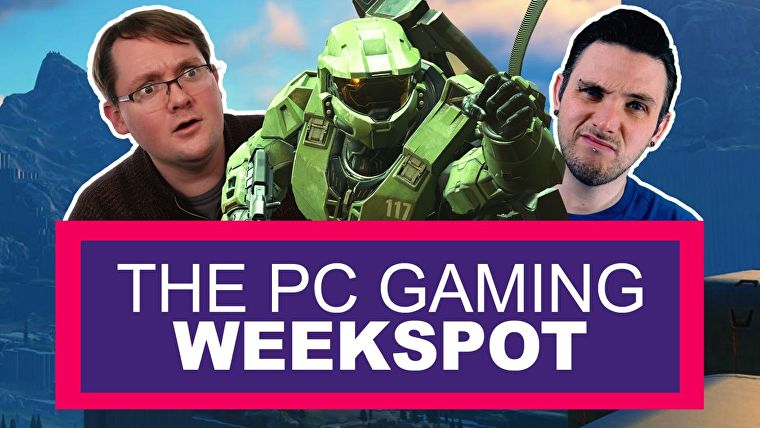 Una imagen con Photoshop muestra las cabezas de VidBud Matthew Castle y VidBud Colm Ahern a ambos lados del Jefe Maestro, el gran hombre del ejército verde de Halo.  Matthew parece sorprendido y Colm se ve escéptico.  Están encima de un banner de título en violeta y rosa, con un texto blanco que dice 'THE PC GAMING WEEKSPOT'