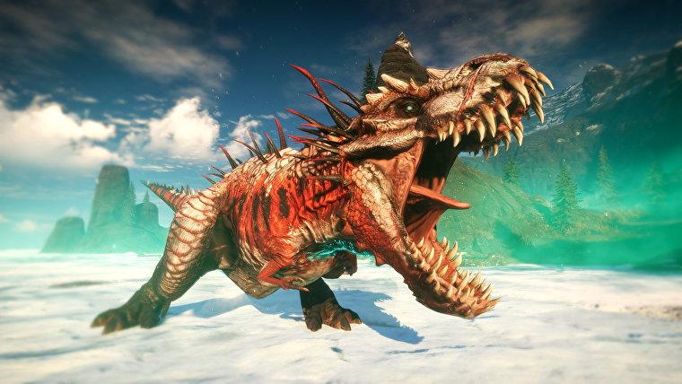 Un T. Rex mutante en una captura de pantalla de Second Extinction.