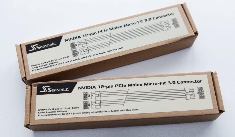 Una foto que muestra los kits de adaptadores de conector de alimentación de 12 pines Nvidia de Seasonic