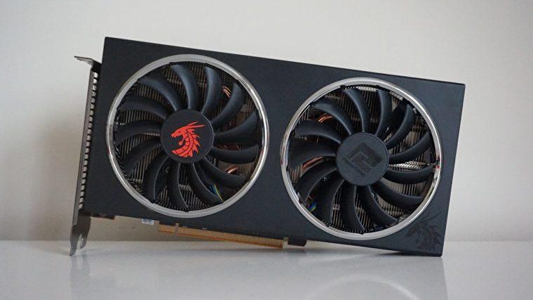 Una foto de la tarjeta gráfica Radeon RX 5500 XT de Powercolor