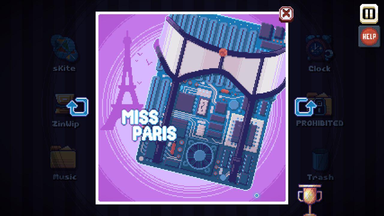 Una captura de pantalla de There Is No Game que muestra un pedazo de pixelart de un póster pin up, pero es una placa base con un sexy liguero.  Está etiquetado como 'Miss Paris' y tiene una Torre Eiffel de fondo para confirmarlo.