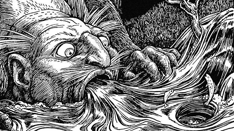 Una ilustración de un gigante agachado para beber un arroyo, mientras que los peces flotan en la corriente.
