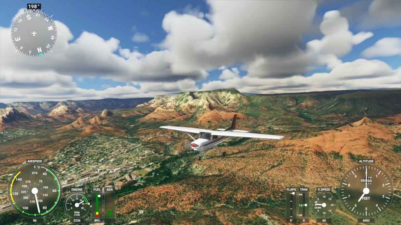 Una captura de pantalla de Microsoft Flight Simulator 2020 en su configuración de gráficos de gama baja