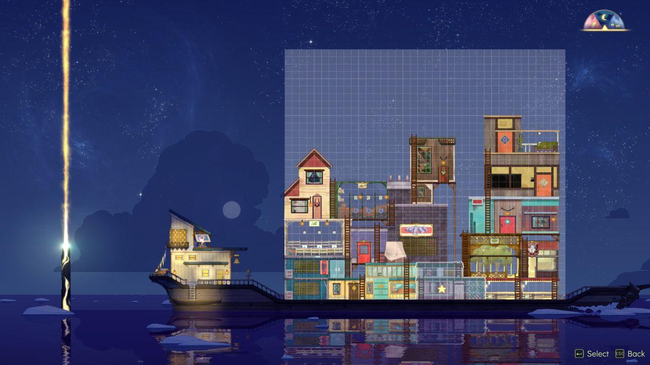Una captura de pantalla que muestra el barco en Spiritfarer en modo 'editar'.  Se ha alejado para que se pueda ver la pila completa de edificios a bordo, un mosaico de puntales y escaleras de madera tambaleantes y diferentes edificios con estilos tremendamente diferentes.