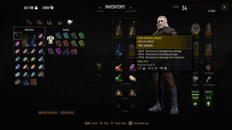 Conjuntos de armadura Witcher 3