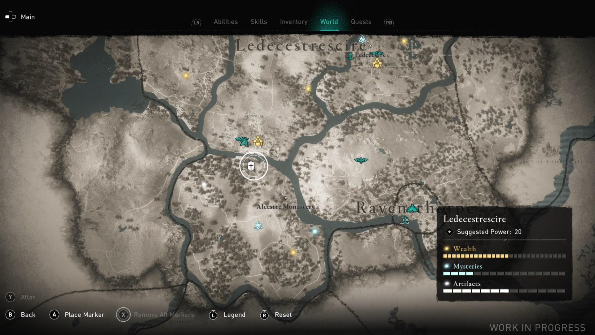 Una captura de pantalla del mapa que no muestra muchos iconos.