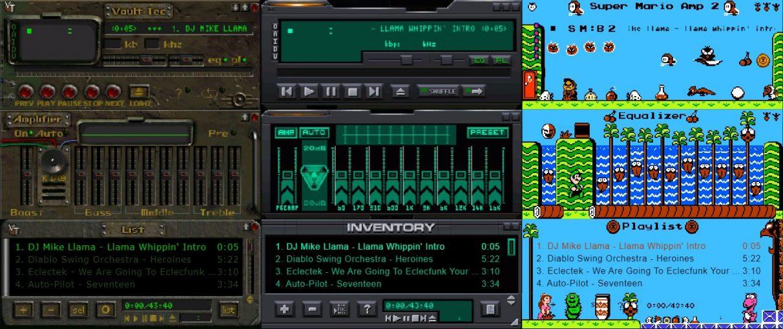 Máscaras de Winamp inspiradas en Fallout, System Shock 2 y Mario.