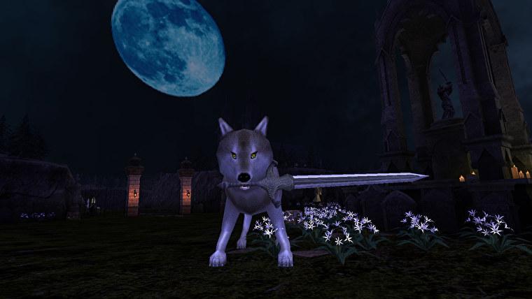 Luchando contra un lobo familiar con espada en una captura de pantalla de Raven Keep.