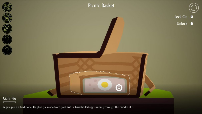Una captura de pantalla que muestra el corte en I Am Dead en acción: el jugador está mirando la sección transversal de una canasta de picnic, dentro de la cual hay un pastel de carne, dentro de la cual hay un huevo cocido.