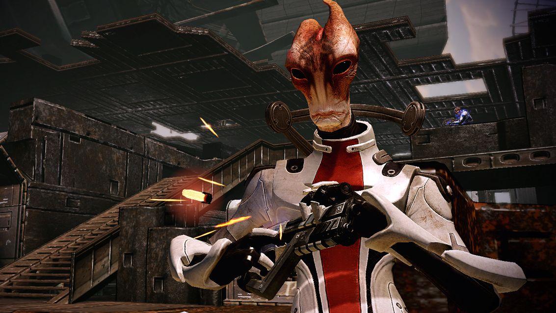 Una captura de pantalla de Mordin, el científico lagarto alienígena de la serie Mass Effect