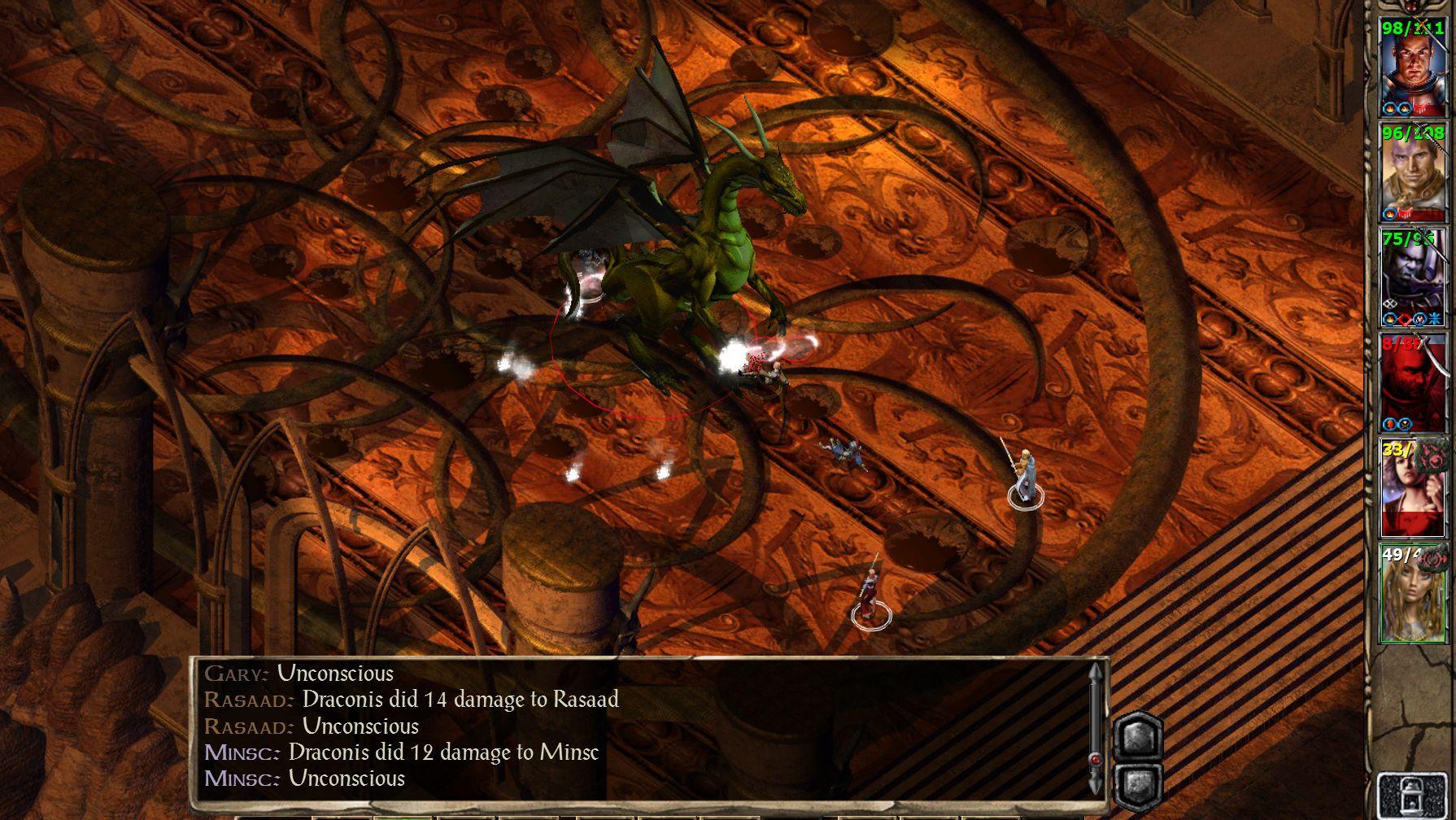 Una captura de pantalla de la fiesta que lucha contra un gran dragón en Baldur's Gate II, porque no tenía una captura de pantalla del Baldur's Gate original.