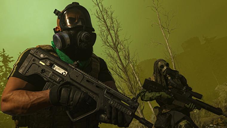 Dos jugadores en el gas con máscaras de gas, empuñando rifles de asalto.