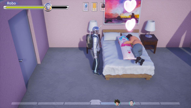 Una captura de pantalla de Pull Stay que muestra al personaje del jugador, un hombre robot de piel plateada, mirando impasible a un hombre abrazando una almohada corporal en una cama.  Los corazones emanan del segundo hombre.  Es raro.