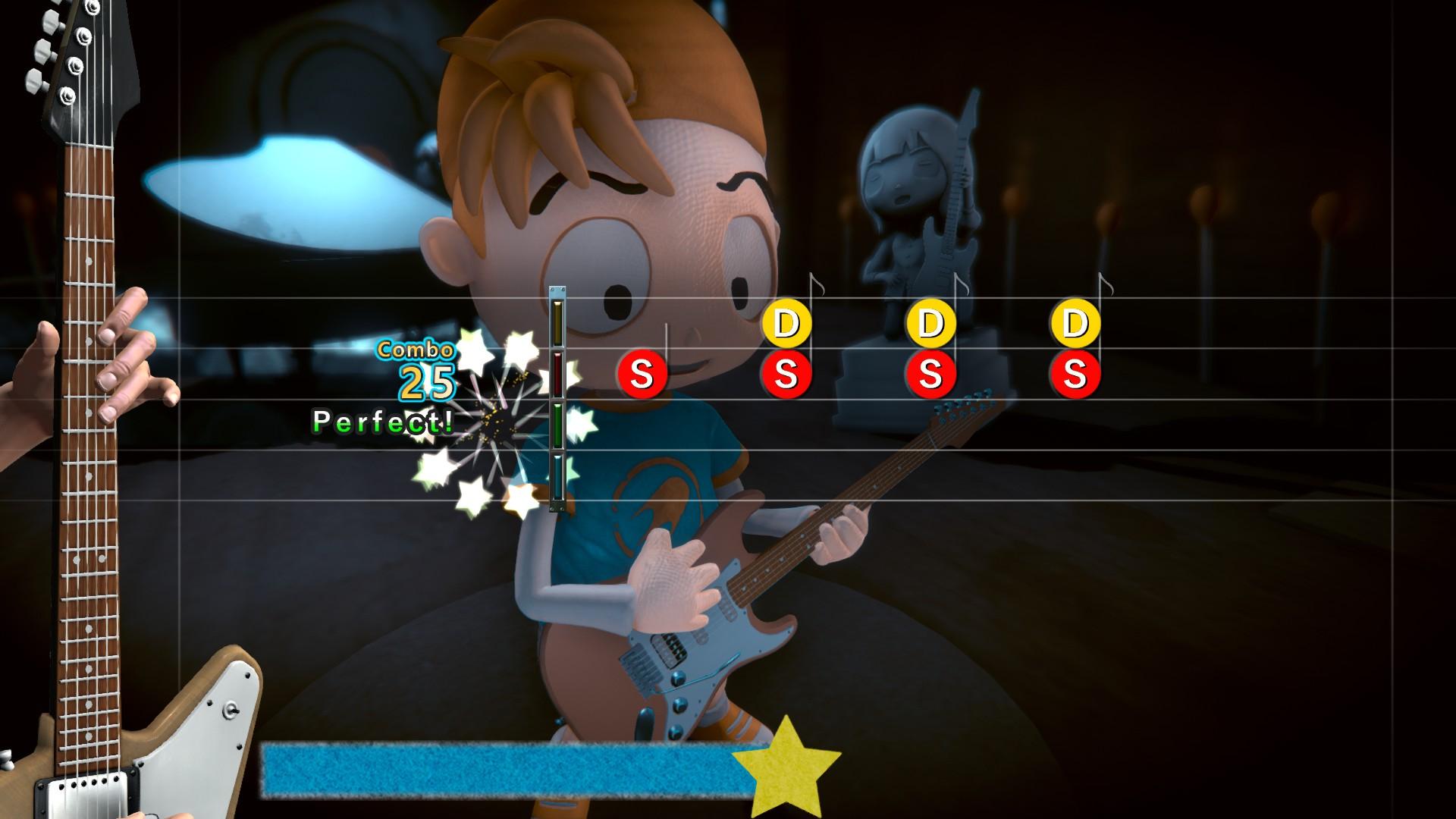 Edwin, un niño con una camiseta azul y una gorra de béisbol al revés, toca la guitarra.  Superpuesta al frente hay una interfaz de usuario de acción rítmica, con un mástil de guitarra a la izquierda e íconos de notas flotando desde la derecha.