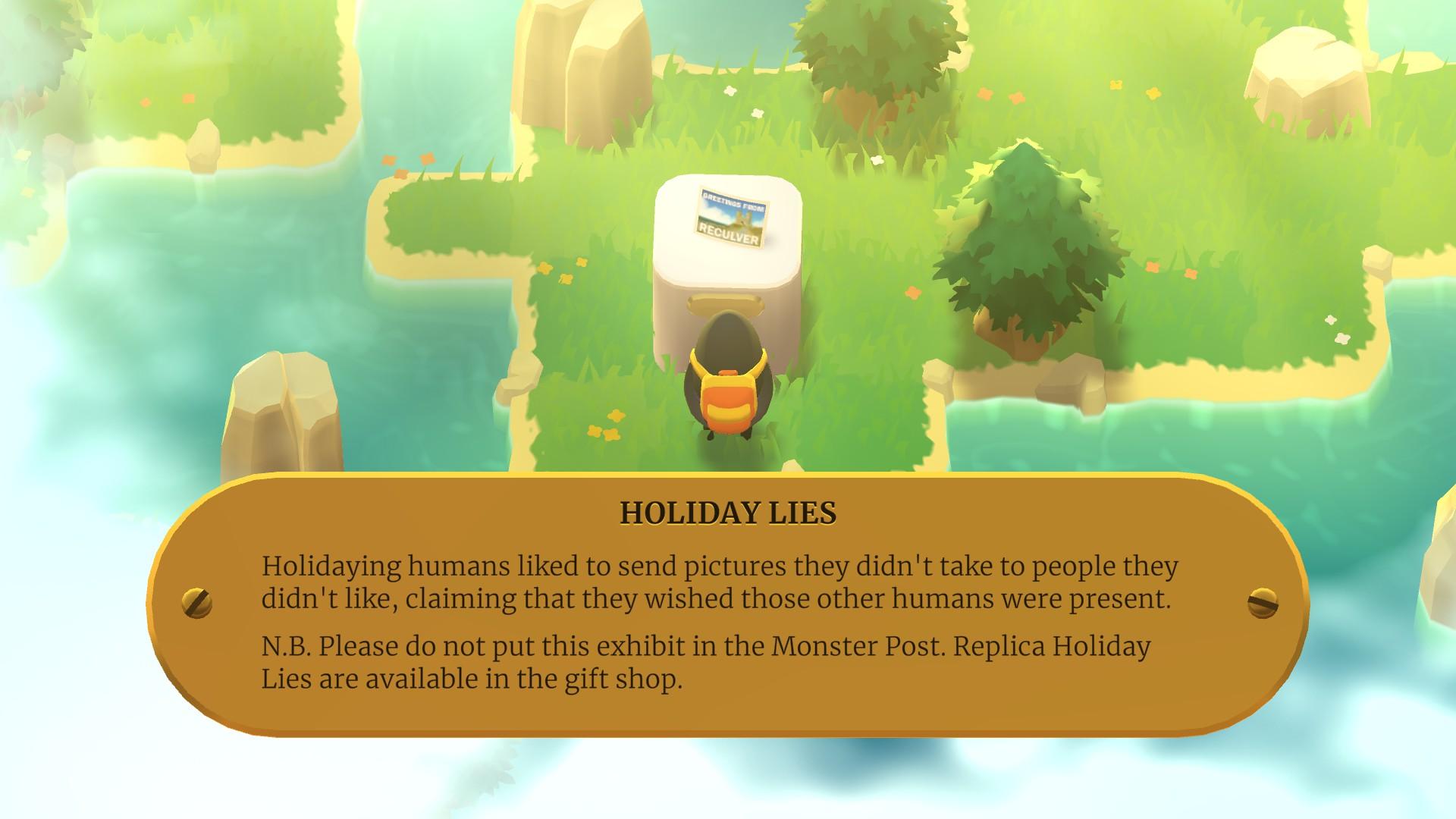 Una captura de pantalla de la Expedición de un monstruo que muestra al monstruo en cuestión observando la exhibición de una postal: 'mentiras navideñas'.