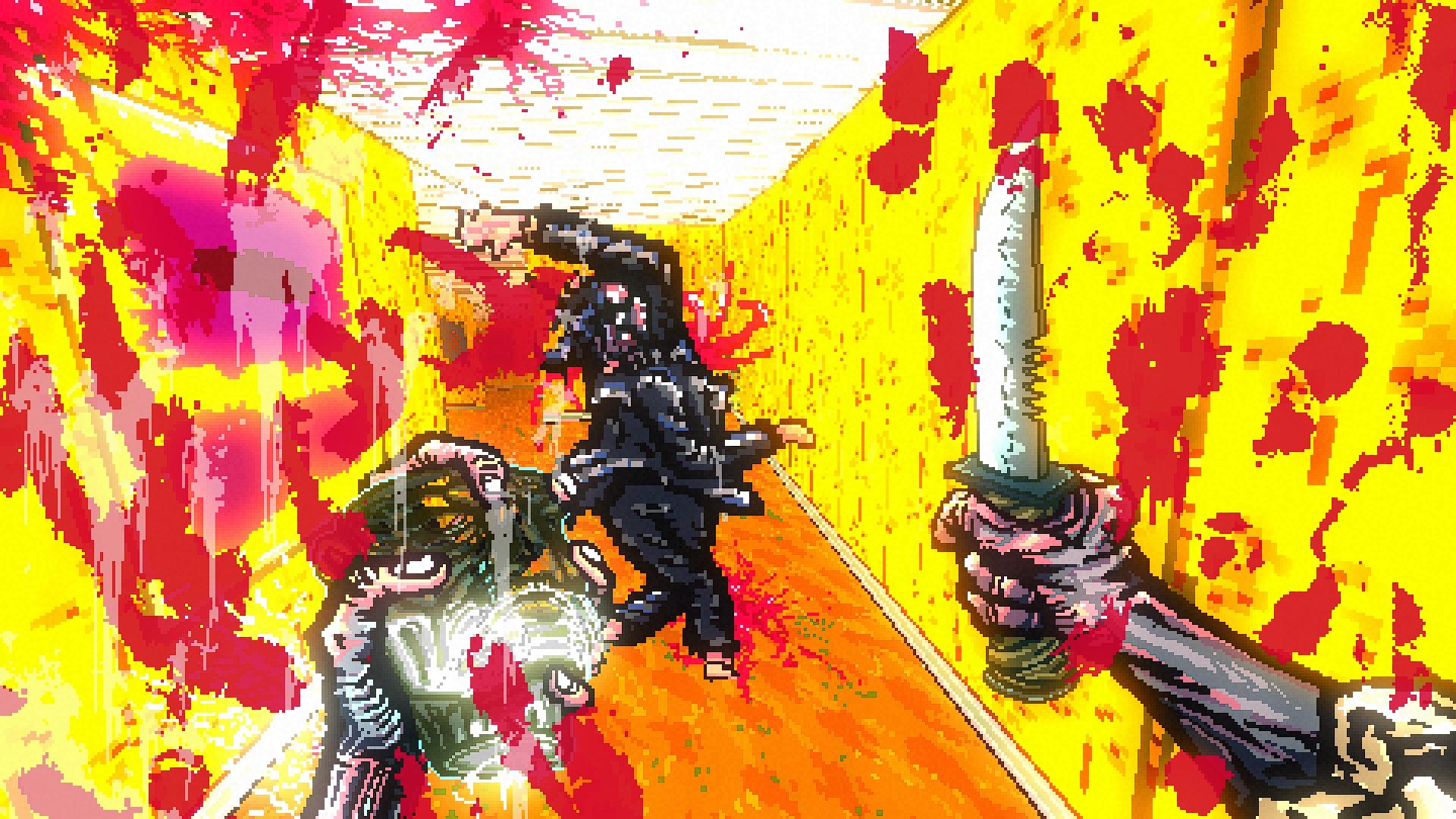 Una vista en primera persona, la cámara salpicada de sangre, una forma humana adelante girando, mortalmente herida.  En mi kand derecho hay un cuchillo grande.