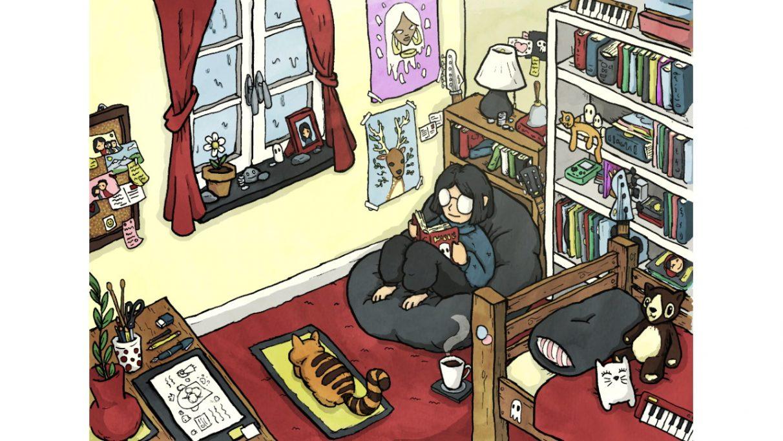 Una captura de pantalla de Lo-Fi Room, que muestra a una niña leyendo un libro en una bolsa de frijoles en un dormitorio acogedor con su amigo gato cerca.
