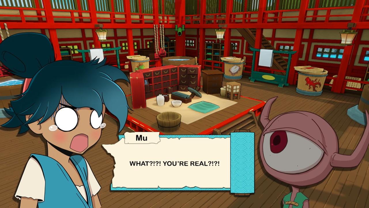 """Mu, el protagonista principal exclama """"¡¿¡¿QUÉ?!?!  ¡¿¡¿ERES REAL?!?!"""" sorprendido mientras habla con un yokai."""