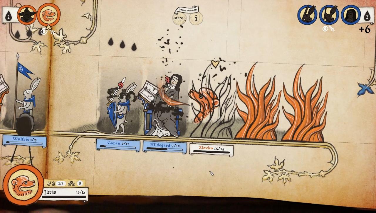 Una captura de pantalla de Inkulinati que muestra llamas invadiendo el Inkulinati del jugador enemigo.  La cabeza de un león aliado se coloca detrás del enemigo y ha lanzado un ataque de aliento de fuego.