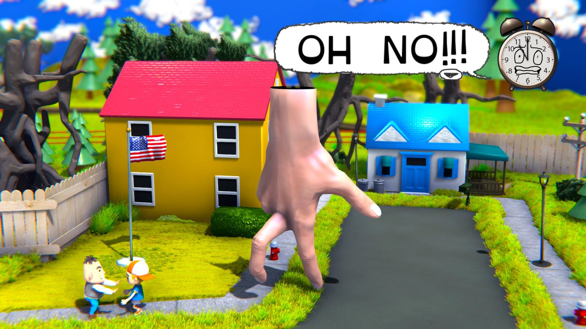 Una mano gigante camina con los dedos por un barrio modelo.  El texto del diálogo procedente de un reloj de alarma en la esquina superior derecha grita