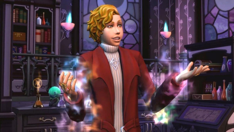 Una captura de pantalla del DLC Realm of Magic de Los Sims 4, que muestra a un Sim que es legalmente distinto del personaje de Harry Potter, Newt Scamander, parado frente a un caldero haciendo algo de magia.