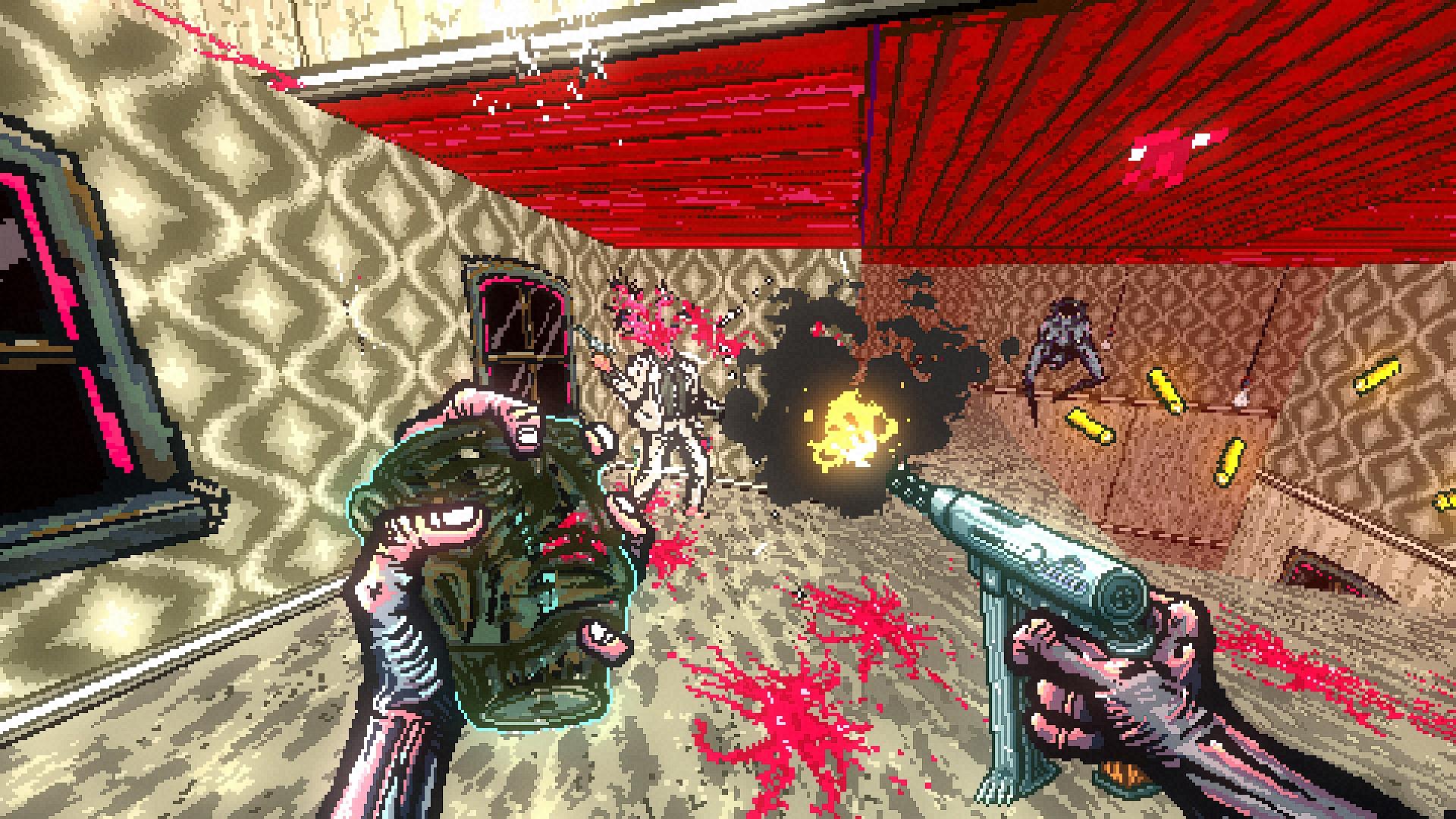 El jugador dispara una uzi a un monstruo con un traje blanco, en una habitación abierta con paredes y piso de un verde enfermizo.  A la derecha, una boca bípeda salta a través de un espacio para alcanzar al jugador.