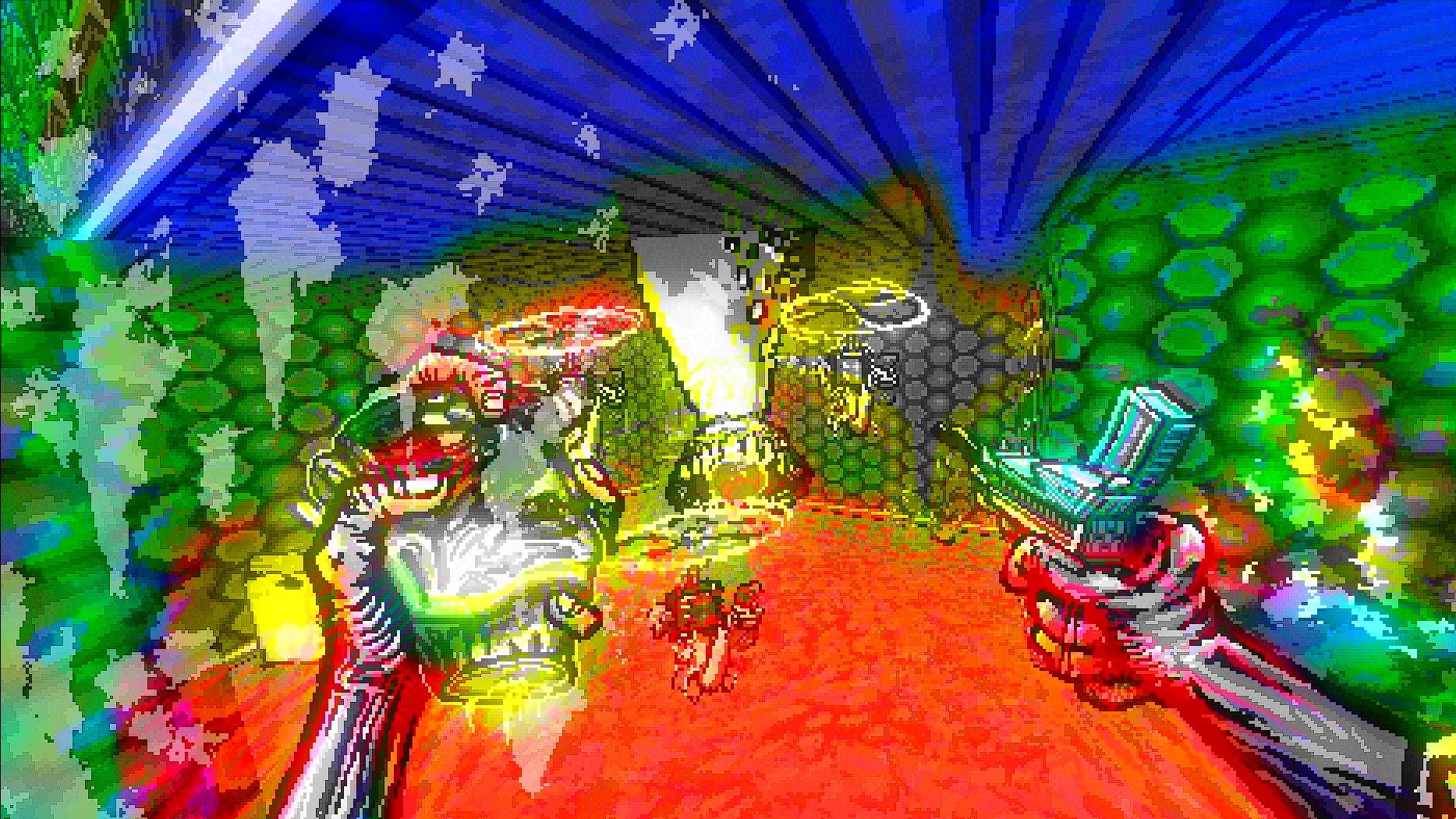 El jugador se enfrenta a una boca en un tentáculo cuando sale del techo, y dos cosas con cuchillas flotantes.