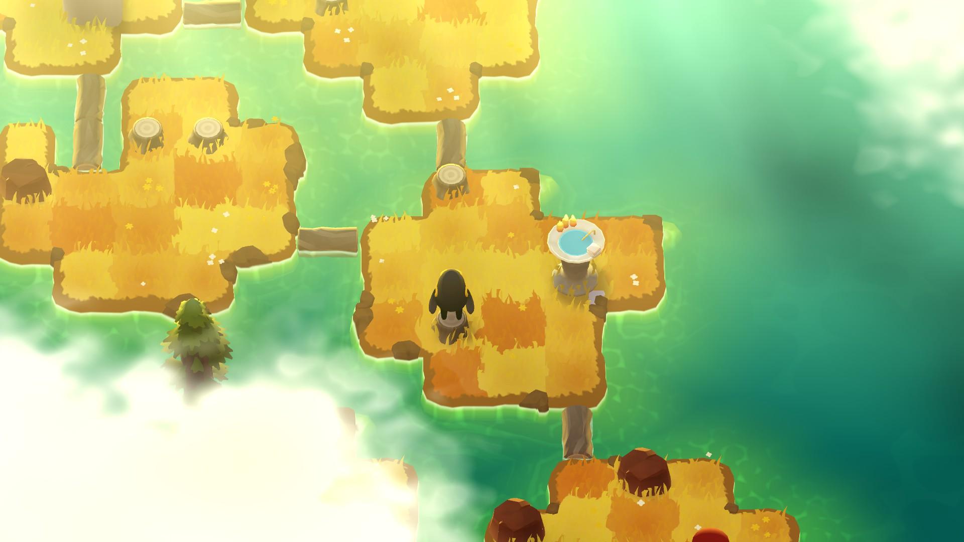 Una captura de pantalla de A Monster's Expedition que muestra al monstruo, una pequeña criatura bípeda negra con una mochila amarilla, de pie sobre el tocón de un árbol en una pequeña isla.  A su alrededor, los troncos flotantes proporcionan puentes a otras islas pequeñas.