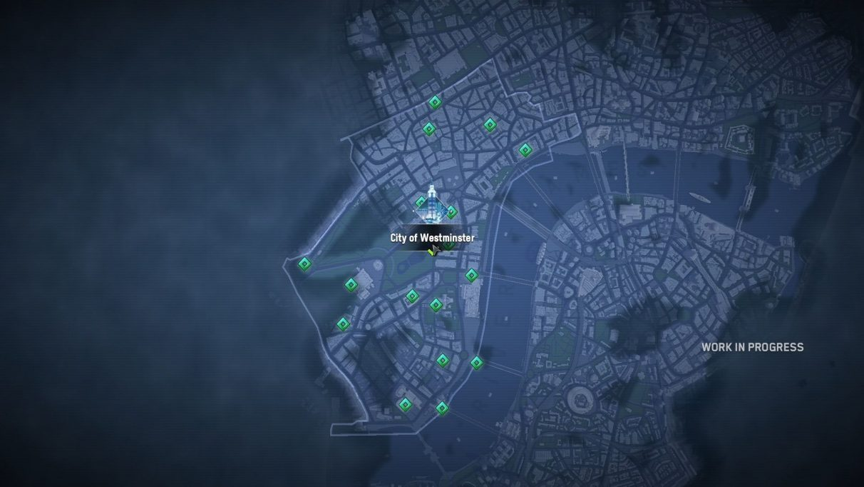 Una captura de pantalla del distrito de Westminster en Watch Dogs: Legion Map, que acaba de ser liberado por el profundo y majestuoso bong del Big Ben.  La captura de pantalla dice