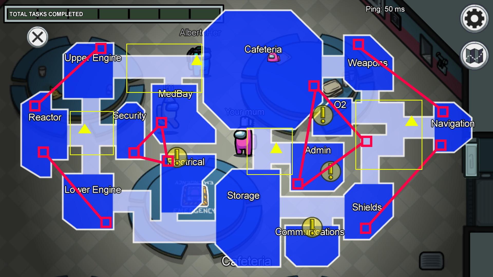 El mapa anotado de Skeld Among Us